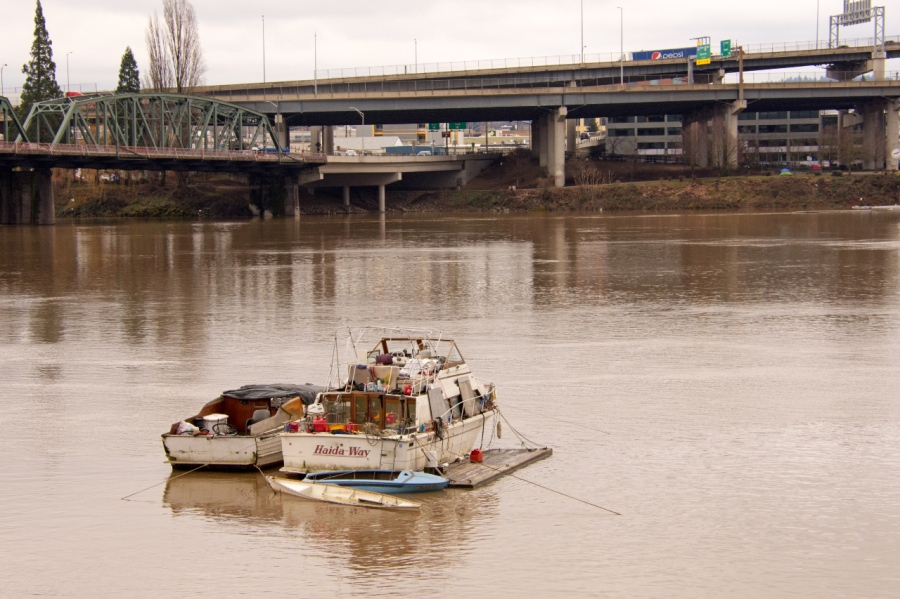 Homeless camp on the Willamette River