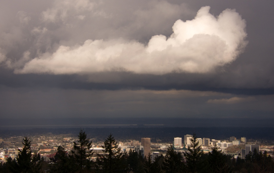 Stormy view of Portland from Council Crest